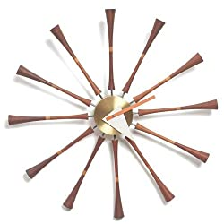 Telechron Spindle Wall Clock, Dark Wood