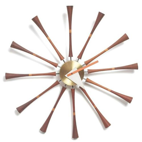 Telechron Spindle Wall Clock, Dark Wood