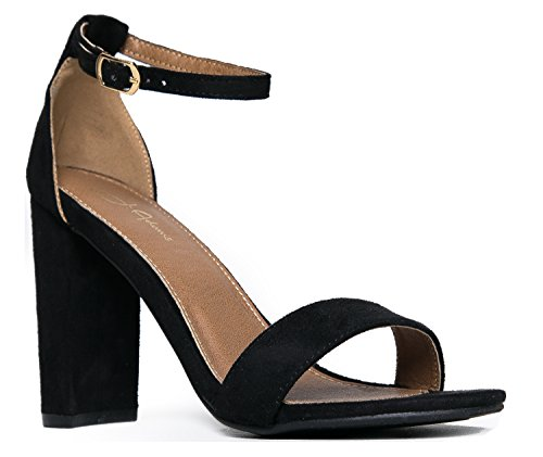 Strappy Chunky Block High Heel - Formal, Wedding, Party Simple Classic Pump - Shirley by J.Adams Black