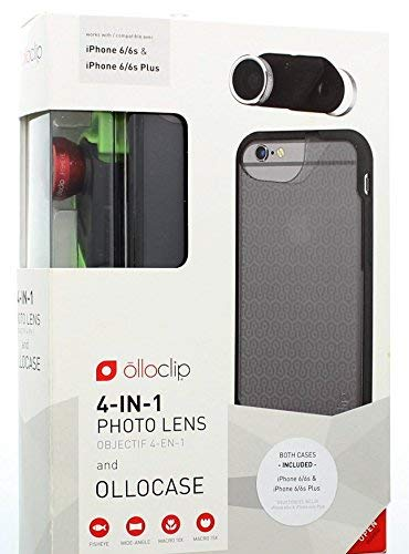 olloclip 4-in-1 Photo Lens + OLLOCASEs for iPhone 6/6s/6 Plus/6s Plus (Red Lens with Black Clip & Smoke and Black Case)