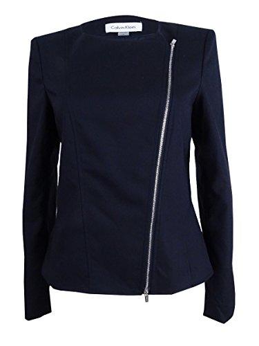 Calvin Klein Women's Plus Size Asymmetrical-Zip Blazer (18W, Dark Navy)