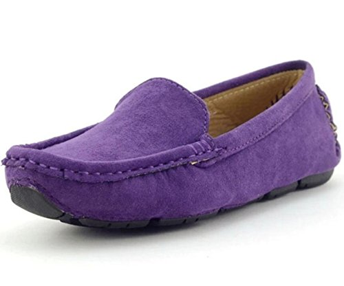 - DADAWEN Girl's Boy's Suede Slip-on Loafers Oxford Shoes Purple US Size 9 M Toddler