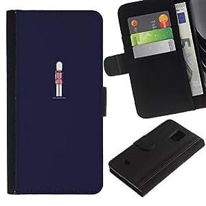 Planetar® Modelo colorido cuero carpeta tirón caso cubierta piel Holster Funda protección Para Samsung Galaxy S5 Mini / SM-G800 (Not For S5!!!) ( Navy Blue Guard Royal )