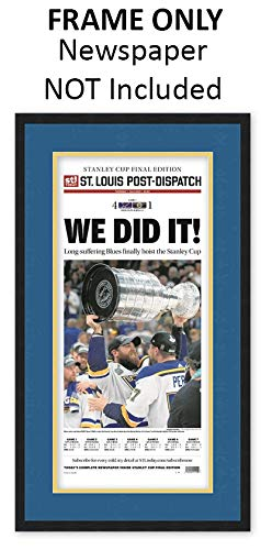 St. Louis Post-Dispatch Newspaper Frame - with St. Louis Blues Colors Double ()
