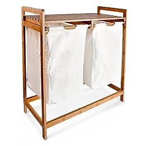 relaxdays panier linge corbeille 2 compartiments bambou sacs en toile blanc amovibles poign es. Black Bedroom Furniture Sets. Home Design Ideas