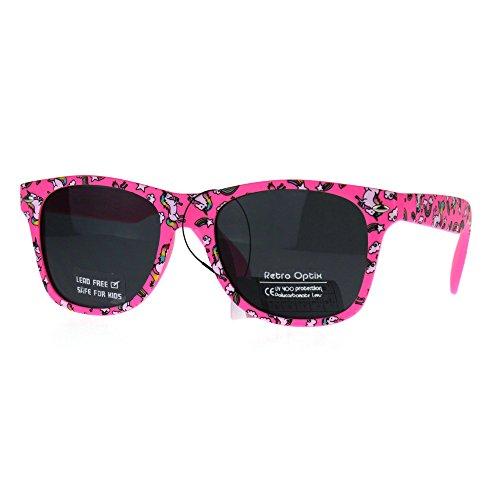Kids Child Size Girls Unicorn Print Plastic Horn Rim Sunglasses - Unicorn Sunglasses