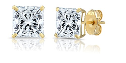 14k Yellow Gold Square Cubic Zirconia Princess-cut CZ Stud Earrings, Unisex (6mm, yellow-gold)