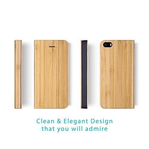 iATO iPhone SE / 5s / 5 Book Type Case - Real Bamboo Wood Grain Premium Protective Front and Back Wooden Cover. Unique, Stylish & Classy Folio Flip Bumper Accessory Designed for iPhone SE / 5s / 5 (Wood Iphone 5 Grain)
