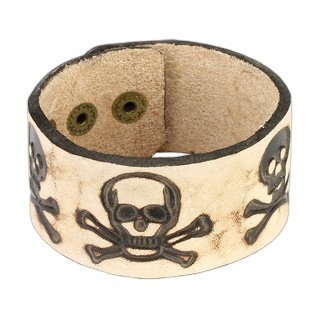 Brown Leather Bracelet with Burnt Leather Pirate Skull Design - Length 7.28