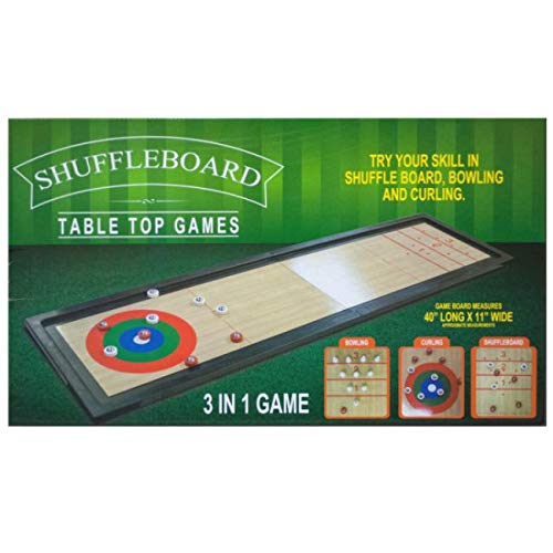 The Wholesale Shop 40'' Black and Beige Rectangular 20-Piece Shuffleboard Tabletop Game