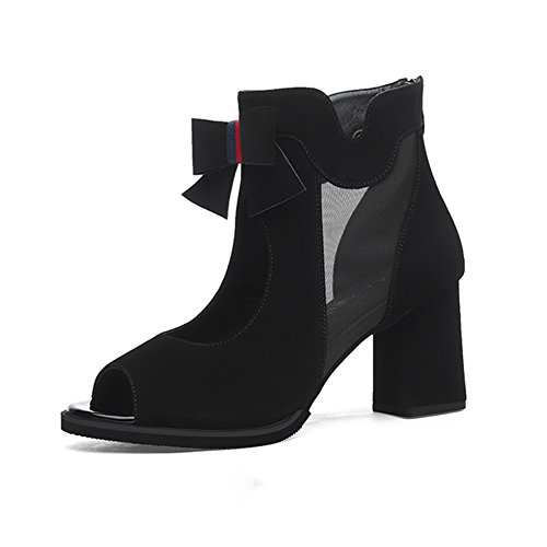 Mesdames Faible Bowknot Bouche Grossier Chaussure Gaze Talon Été Printemps Poisson Net Talons Bb6016 Noir De Hauts Aide Sunny Et pn6ZZw