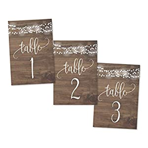 1-25 Rustic Wood Lights Table Number Double Sided Signs For Wedding Reception, Restaurant, Birthday Party Calligraphy…