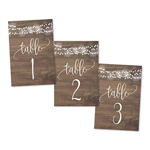 1-25 Rustic Wood Lights Table Number Double Sided Signs For Wedding Reception, Restaurant, Birthday Party Calligraphy Printed Numbered Card Centerpiece Decoration Setting Reusable Frame Stand 4x6 Size]()