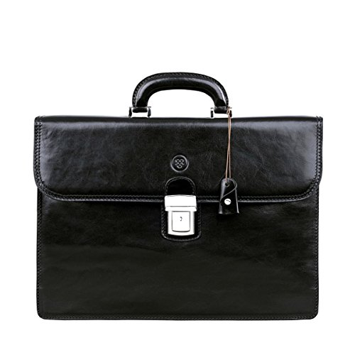 (Maxwell Scott Luxury Black Leather Bags Briefcases (The Paolo2) - One)