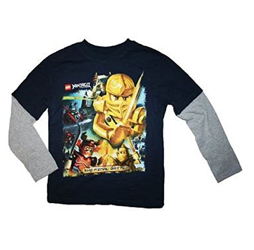 Lego Ninjago Gold Ninja Final Battle Boys Long Sleeved Shirt Boys (4-20) (Medium (10/12), Navy)