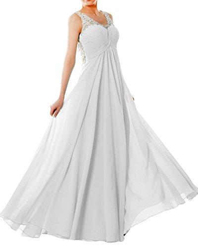 MACloth Women Straps V Neck Chiffon Lace Long Prom Dress Formal ...