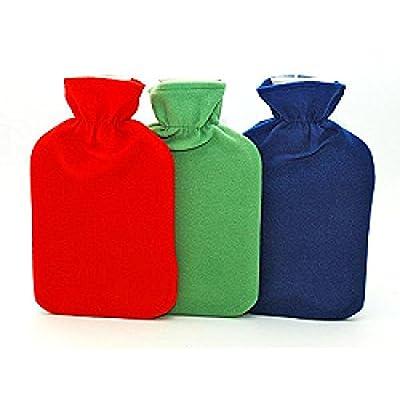 Lot de 3 - Bouillotte à eau 2L avec housse polaire coloris assortis - Qualité COOLMINIPRIX®