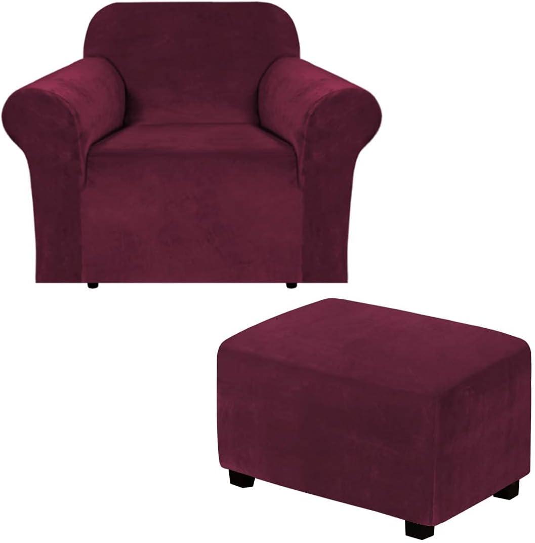 "H.VERSAILTEX Velvet One Piece Sofa Slipcover (Chair 32""-48"", Burgundy) Bundles Rectangle Ottoman Slipcover(Large, Burgundy)"
