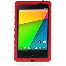 Google Nexus 7 (2013) Drop Tech Red Gumdrop Cases Silicone Rugged Shock Absorbing Protective Dual Layer Cover Case