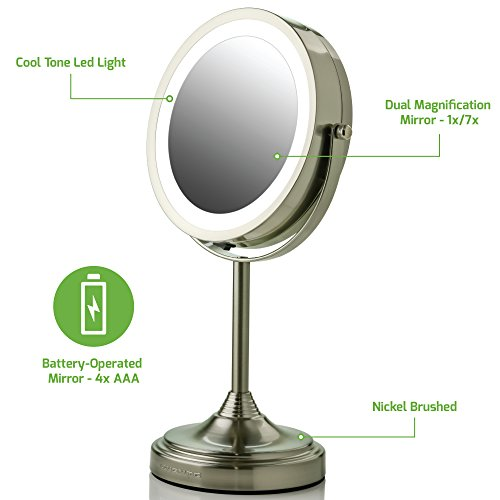 Ovente LED Lighted Tabletop Makeup Mirror, 7 Inch, Dual-Sided 1x/7x Magnification, Nickel Brushed (MCT70BR1X7X) by Ovente (Beauty)