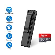BOBLOV 1080P Mini Body Cameras Night Vision Wearable Video Audio Recorder Back Clip with 32G Card for Teaching/Tour/Lecture/Interview/Baby Monitor Record