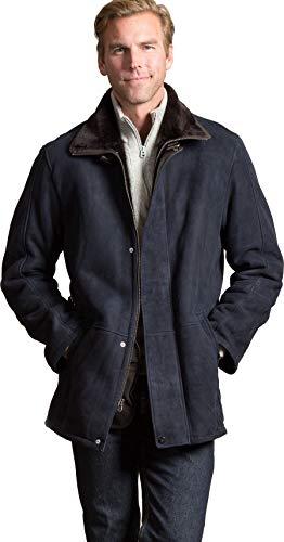 (Blaine Spanish Merino Shearling Sheepskin Coat Navy/Brown )