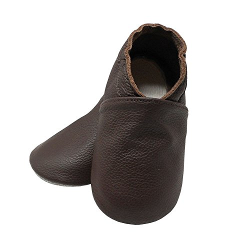 Yalion Baby Boys Girls Shoes Crawling Slipper Toddler Infant Soft Leather First Walking Moccs(Dark Brown,6-12 Months) - Image 4