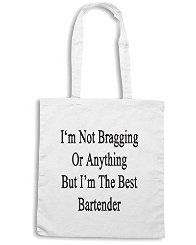 T-Shirtshock - Bolsa para la compra BEER0244 I m The Best Bartender Blanco
