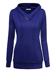 BAISHENGGT Women's Knitted Kangroo Pockets V-neck Casual Hoodie Pullover