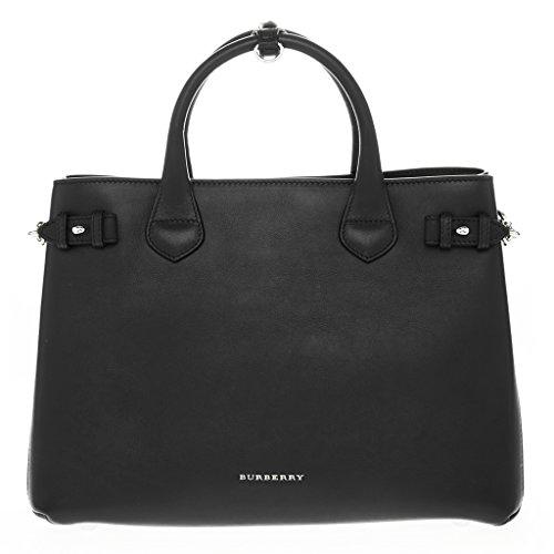 Burberry Women's The Medium Banner Satchel Side Chain Bag Black