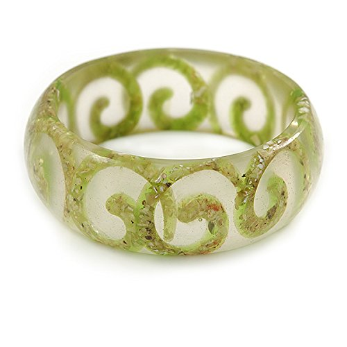 Avalaya Lime Green Swirl Motif Acrylic Bangle Bracelet (Transparent) - Medium Size - up to 18cm L PEs2hE