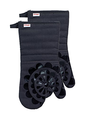 T-fal Textiles Silicone Printed Medallion 100% Cotton Twill Heat Resistent Non-Slip Grip Oven Mitt, 12.75 inches x 7 inches, Set of 2, Charcoal Grey