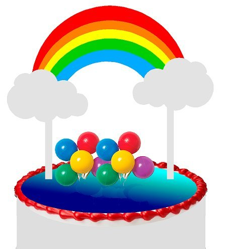 Cake Decorating Kit Topper Decoration - Cake/Food/Cupcake/Desert Decoration Banner Decorating Topper Kit (Bright Rainbow)