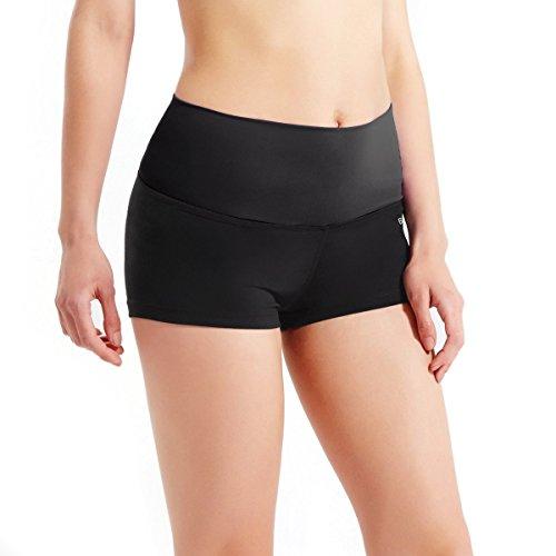 Baleaf Women's High Waist Athletic Yoga Shorts Running Workout Tennis Shorts Inner Pocket Black Size XS]()
