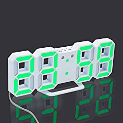 AngelaKerry LED Table / Desk Wall Digital Wall Clock + USB Cable, 24 or 12 Hour Display Alarm Snooze Modern Digital (The base is removable Removable) - White bottom Green Number