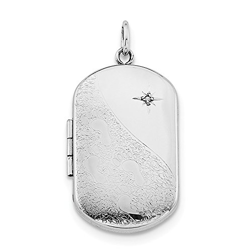 Jewelry Pendants & Charms Lockets Sterling Silver Rhodium-plated Footprints with Star Rectangular Locket