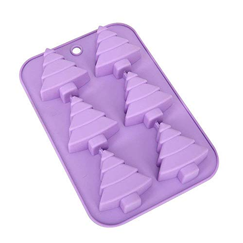(ESA Supplies 6 Cavity Christmas Tree Silicone Molds for Soap Muffin Cups Jello Chocolate Biscuit Baking Clay Soap molds Cake Moulds for Christmas)
