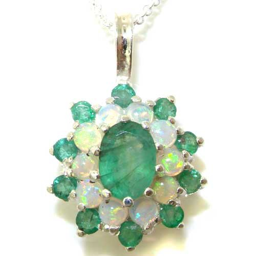 Ladies Solid 925 Sterling Silver Ornate Large Natural Emerald & Opal Large Cluster Pendant Necklace