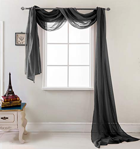 RT Designers Collection Celine Sheer 55 x 216 in. Sheer Curtain Scarf, Black (Valance Black Sheer Scarf)