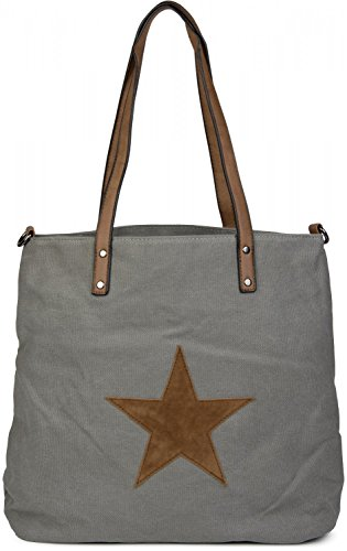 canvas star shopper 02012048 bag handbag Color Grey Khaki bag shoulder styleBREAKER ladies with patch sling IwqfxId5P