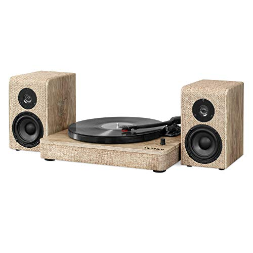 Victrola VM-130-FOT Wood and Linen Fabric Bluetooth Record Player with 3-Speed Turntable, Farmhouse Oatmeal
