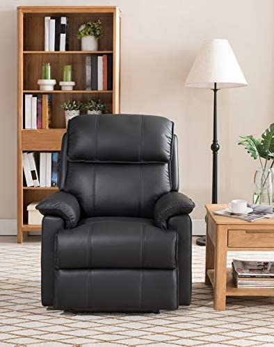 Hydeline Filmore Leather Power Recliner with Builtin USB Port, Black