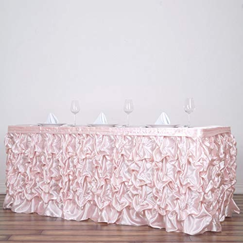 (Efavormart Chic Miteux Lamour Satin Table Skirt for Kitchen Dining Catering Wedding Birthday Party Decorations Events - Blush )