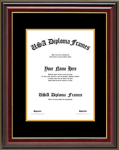 Cherry Glossy with Gold Trim Diploma Frame with Black Suede Matting (Used for 8.5x11 Vertical documents or certificates) ()