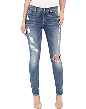 7 For All Mankind Women's The Skinny w/ Contrast Squiggle & Destroy in