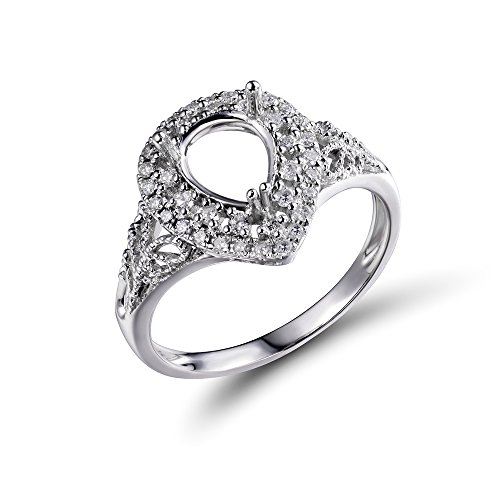 (Lanmi 14K White Gold Women's Bridal Oval 6X8mm Pear Natural Diamond Semi Mount Ring Set No Center Stone)