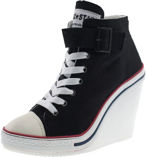 Maxstar Women's 777 One Buckle Strap Canvas High Wedge Heel Sneakers Black 8.5 B(M) US
