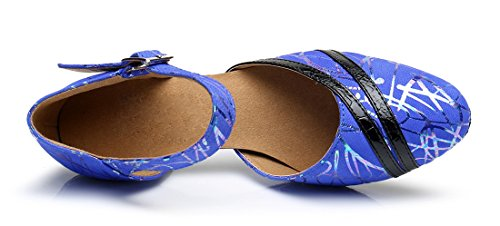 Heel Buckle Modern Latin Womens Samba TDA Shoes Dance Round 6cm Blue Salsa Leather Toe Tango Wedding q68wBwft