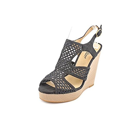 Lucky Brand Remyy Womens Black Mesh Wedge Platform Sandals Shoes 8.5 M