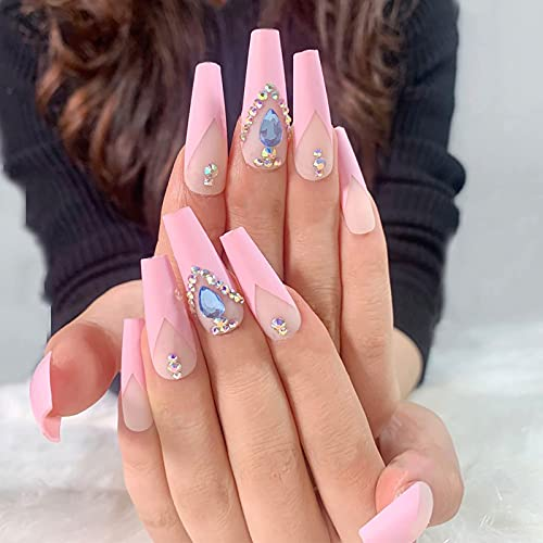 24/72Pcs Halloween Extra Long Fake Nails Coffin Ballerina Glossy Press on Nails, Halloween Acrylic Artificial Cool Nails False Nails with 3 Styles (B1-24PC)